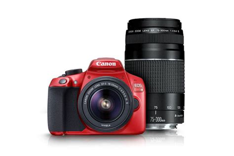 Canon EOS Rebel T6 EF-S 18-55 Red with EF 75-300mm f/4-5