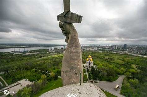 Climbing on top of the huge Motherland Calls Monument