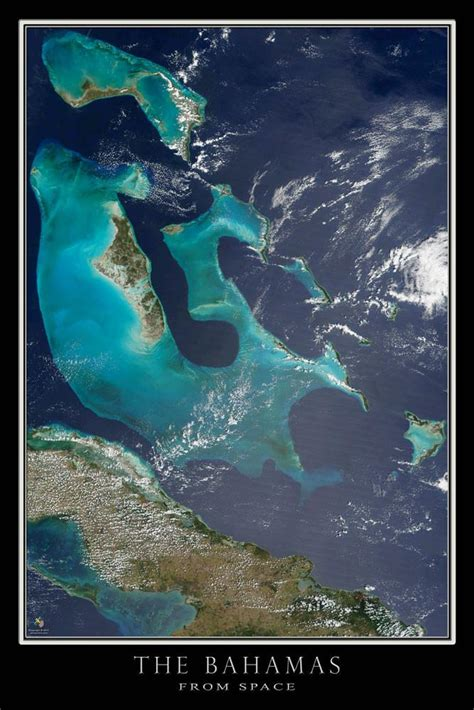 The Bahamas Satellite Poster Map — aerial views, from