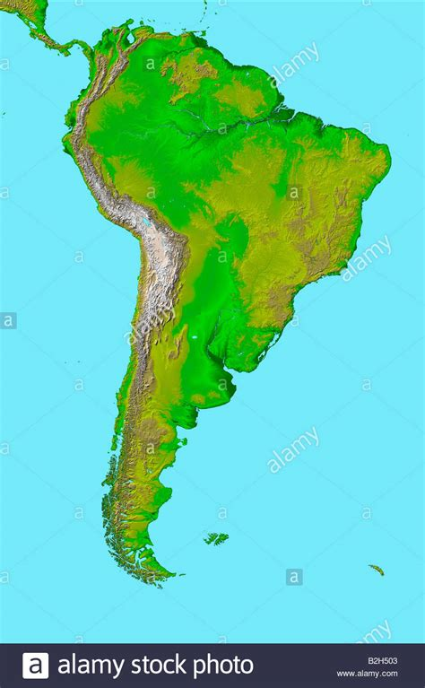 high definition satellite view of South America map Stock