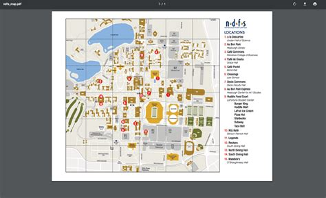 Map of Dining Locations   InsideND